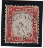 Italie N° 3, C. Quaranta, Franco Bollo , Oblitéré 23.12.1862 - 1861-78 Vittorio Emanuele II