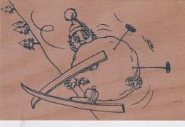 CARTE EN BOIS SKIEUR BOULE DE NEIGE   ILLUSTRE PAR D.LARDET  APPIC SELLIERES JURA - Autres