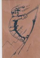 CARTE EN BOIS SKIEUR  ILLUSTRE PAR D.LARDET  APPIC SELLIERES JURA - Cartes Postales