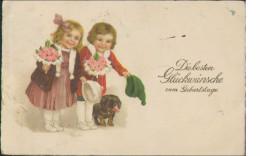 Glückwunschkarte Geburtstag, Dackel Mit Kindern Gratuliert, Postkarte, Feiern & Feste - Compleanni