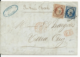 """1856 - 40c+20c EMPIRE Sur LETTRE De LE HAVRE T15 ROUGE """"BUREAU MARITIME"""" Pour VERA CRUZ (MEXIQUE) - RARE - 1849-1876: Période Classique"""