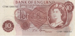 (B0569) GREAT BRITAIN, 1966-1970 (ND). 10 Shillings. P-373c. XF - 1952-… : Elizabeth II