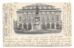 LIEGI PLACE DU THEATRE ANNO 1901 VIAGGIATA FP - Liège