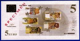 1 SPECIMEN 1998 VRAIE FAUSSE MONNAIE 5 EURO SERIE AA0000000 SANS VALEUR POUR LA PROMOTION DOCUMENT FICTIF NEUF 12,9X5,9c - Specimen