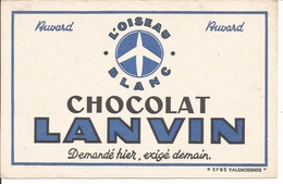 Buvard Chocolat Lanvin. L'Oiseau Blanc. - Chocolat