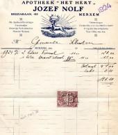 Factuur  Antwerpen Merksem  Apotheek Het Hert   Jozef Nolf   Bredabaan   1924 - België