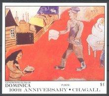Dominica - 1987 Marc Chagall Block (1) MNH__(TH-17584) - Dominica (1978-...)