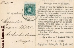 TIMBRE PERFORE SELLO DENTADO HIJO Y NIETO DE RAMOS TELLEZ GRAND PRIX PARIS MALAGA VIN PUBLICITE ESPANA PUBLICITE - 1889-1931 Königreich: Alphonse XIII.
