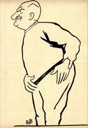 CARICATURE HUMOUR   PORTRAIT HOMME DESSIN ENCRE DE CHINE OU ENCRE NOIRE  -  SIGNE BIB  GEORGES BREITEL 1888-1966 - Drawings