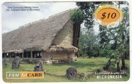 MICRONESIA - Tomil Community Meeting House, FSM Tel Prepaid Card $10, Used