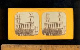 Photographie Stéréoscopique Photo Stéréo 1860´s PARIS Eglise SAINT ST SULPICE / Montgolfière Dessinée Dans Le Ciel - Stereoscopio