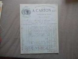 PARIS A. CARTON FABRICANT DE SOIES RUE DU CAIRE 10 FACTURE DU 3 9bre 1885 ANCne MAISON MORAINVILLE & DUFRENEY - 1800 – 1899