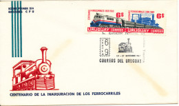 Uruguay Cover FDC? First National Topic Stamp Exhibition 19-27/9-1969 Complete Set Locomotive 1969 With Cachet - Trains