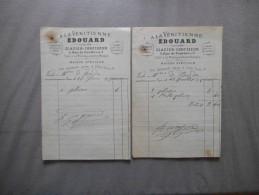 PARIS EDOUARD GOGIOSO GLACIER CONFISEUR A LA VENITIENNE 3 RUE DE PONTHIEU FACTURES DES 27/6 ET 17/7/1878 - 1800 – 1899
