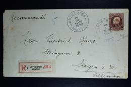 Belgium: Registered Cover Antwerp To Siegen Germany   OPB  218  1929 - België