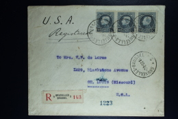 Belgium:Registered Cover Brussels To St. LOuis USA   OPB  211 Strip Of 3   1922 - België