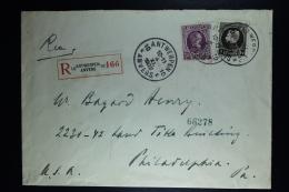 Belgium:Registered Cover Antwerp To Philadelphia USA   OPB  214 + 197  1922 Mixed Franking