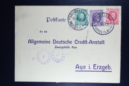 Belgium Card  Brussels To Aue In Erzgeb.  OPB  194 + 197 + 202 Thre Color Franking + Fiscal Stamp - België
