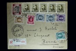 Belgium  Registered Cover Brussels To Bern 1925, OPB  166 Strip Of 5 ,193 , 194, 197, 293 - België