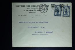 Belgium Cover Brussels To Menziken Switserland 1921, OPB  164 Pair - België