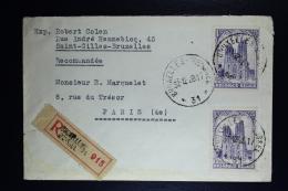Belgium Registered Cover Brussels To Paris  1931, OPB  271 2x