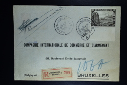 Belgium  Front Of Registered Cover Brussels Local  1928, OPB 266 First Orval  10 Francs With Sheetmargin. - België