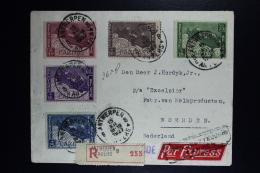 Belgium Registered Express Cover Antwerp To Woerden Holland 1927, OPB 249 - 253 Set Caritas