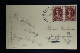 Belgium Card Malmedy To Liege 1932 OPB 326 Pair - Belgium