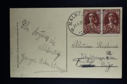 Belgium Card Malmedy To Liege 1932 OPB 326 Pair