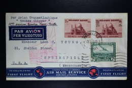 Belgium Airmail Cover Brussels To Springfield USA First Postal Service France USA 1939 OPB PA4 + 476 + 483 Yankee CLipp - Luftpost