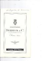 CARTE DES VINS -CHAMPAGNE DELBECK & Cie FOURNISSEUR DE L'ANCIENNE COUR DE FRANCE  REIMS FRANCE - Mapas