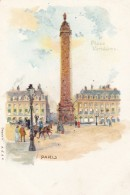 Place Vendome Obelisk, Paris France, 1900s Vintage Glitter Applique Postcard - France