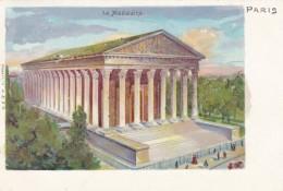 La Madeleine, Paris France, 1900s Vintage Glitter Applique Postcard - France
