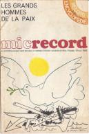 MICRORECORD-LES GRANDS HOMMES DE LA PAIX- - Bücher, Zeitschriften, Comics