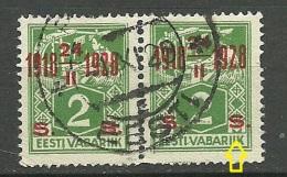 Estland Estonia 1928 Michel 68 In Pair O + OPT ERROR Abart - Estonia