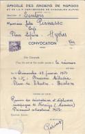 AMICALE DES ANCIENS DE NAMSOS ET DE LA 5è DEMI-BRIGADE DE CHASSEURS ALPINS -TOULON 1952-CONVOCATION - Documenten