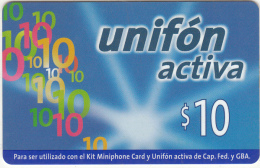 ARGENTINA - Unifon By Telefonica Prepaid Card $10(thick Plastic), 05/00, Used - Argentina
