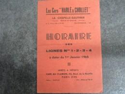 """Lignes Nos 1-2-3-4 Au 1er Janvier 1965 - Les Cars """"HARLE & CHOLLET"""" à LA CHAPELLE-GAUTHIER - Europe"""