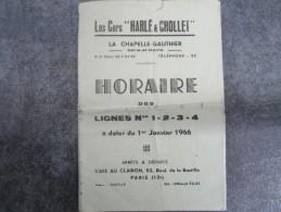 """Lignes Nos 1-2-3-4 Au 1er Janvier 1966 - Les Cars """"HARLE & CHOLLET"""" à LA CHAPELLE-GAUTHIER - Europe"""