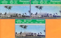 Papua New Guinea - PNG-10/11/12, Haus Ptc - Waigani, CN:112A, 25/50/100 Units, Mint As Scan