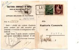 1946 CARTOLINA   CON ANNULLO NAPOLI + TARGHETTA  LOTTERIA DELLA SOLIDARIETÀ - 6. 1946-.. Repubblica