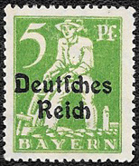 1920 - Timbre D' Allemagne ( Deutches-Reich ) -  Laboureur - 5 P. Vert Surchargé - Bayern (Baviera)