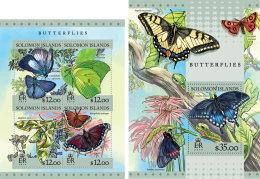 SOLOMON ISLANDS 2016 ** Butterflies Schmetterlinge Papillons M/S+S/S - IMPERFORATED - A1643 - Schmetterlinge