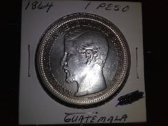 GUATEMALA 1864 1 PESO HIGH GRADE SILVER RARE COIN INV#C10101 - Guatemala