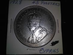 CYPRUS 1928 45 PIASTRES  HIGH GRADE SILVER RARE COIN INV#C10121 - Zypern