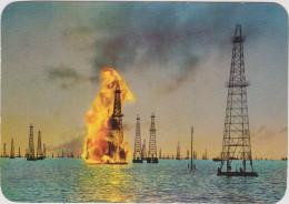 Grote Kaart Grand Format Venezuela Incendio De Una Torre De Petroleo En El Lago Maracaibo LUIS MOLINA PANTIN - Venezuela
