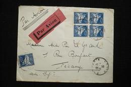 Algérie N°47 Bloc De 4 Avec Bandes De Carnet Sur Lettre Avion 13/2/30 RARE - Storia Postale