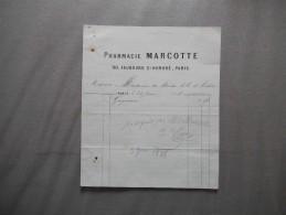 PARIS PHARMACIE MARCOTTE 90 FAUBOURG ST HONORE FACTURE DU 24 JUIN 1878 - 1800 – 1899