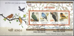 INDIA 2016, FDC, Threatened Birds, Set 4v Complete, Jabalpur Cancelled. - FDC