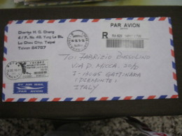 AM5 METER STAMP AFFR. MECCANICA - TAIWAN 2010 TAIPEI REGISTERED LETTER TO ITALY PAR AVION AIR - 1945-... Republic Of China